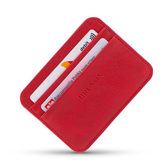 Czerwony portfel na karty damski