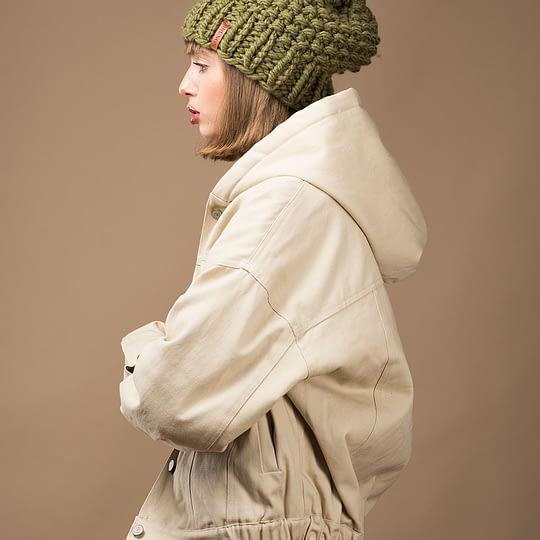 Czapka zimowa ciepła dla niej w kolorze khaki