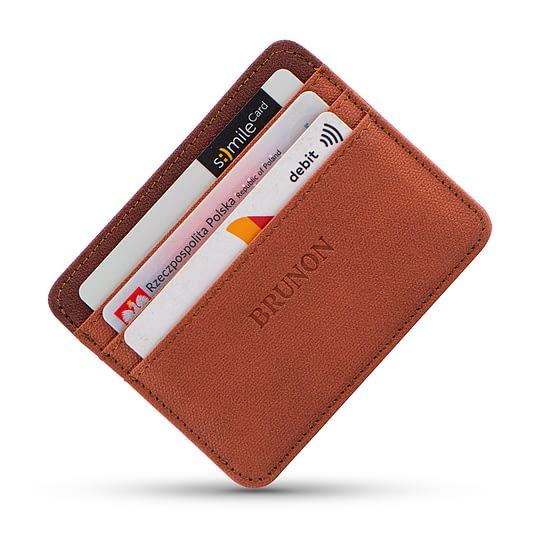 Wegański portfel na karty brązowy cienki
