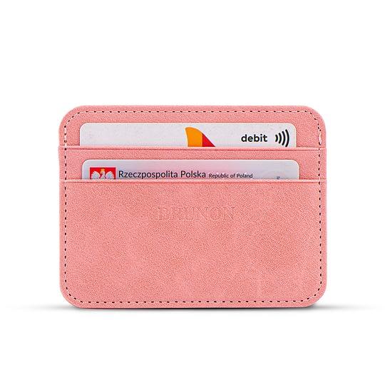 różowy portfelik na karty