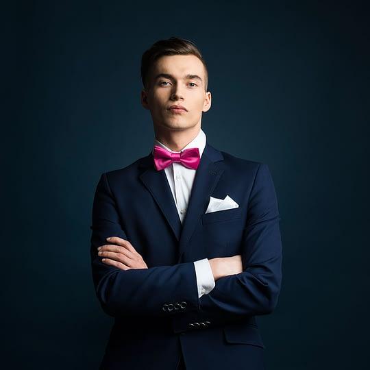 muszka ślubna w kolorze fuksji, do garnituru smokingu marynarki koszuli muszki męskie sklep - Brunon Muszyński