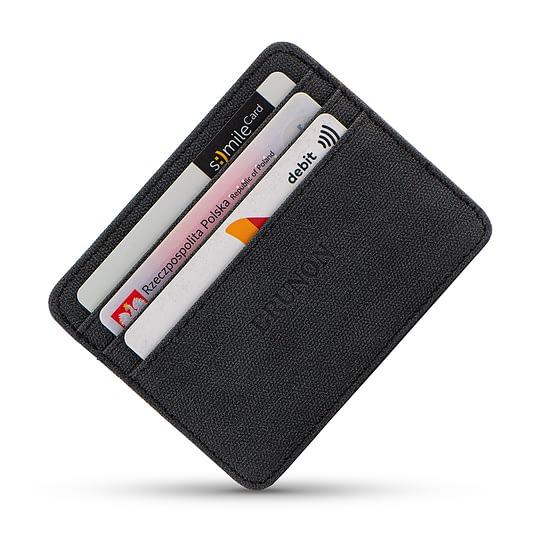 Cienki portfel na karty wegański czarny