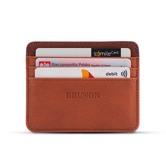 portfel na karty brązowy męski